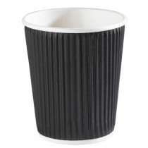 Black Ripple Disposable Paper Coffee Cups 8oz / 227ml