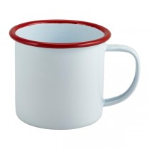 Enamel Mug White with Red Rim 36cl 12.5oz