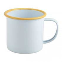 Enamel Mug White with Yellow Rim 36cl 12.5oz