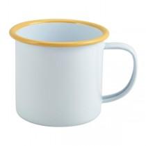 Enamel Mug White with Yellow Rim 36cl 12.5oz