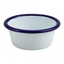 Enamel Ramekin White with Blue Rim 8 x 3.2cm
