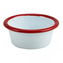 Enamel Ramekin White with Red Rim 8cm