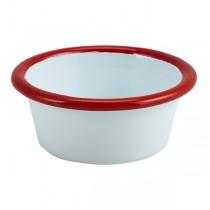 Enamel Ramekin White with Red Rim 8cm