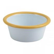 Enamel Ramekin White with Yellow Rim 8cm
