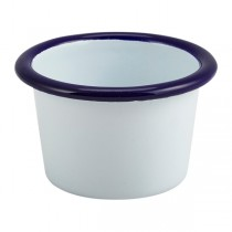 Enamel Ramekin White With Blue Rim