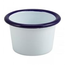Enamel Ramekin White With Blue Rim