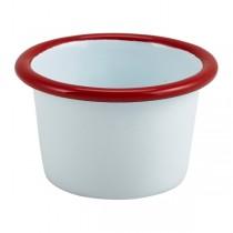 Enamel Ramekin White with Red Rim 7cm