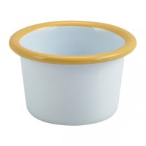 Enamel Ramekin White with Yellow Rim 7cm