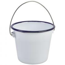 Enamel Bucket White with Blue Rim 11cm