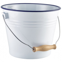 Enamel Bucket White with Blue Rim 22cm
