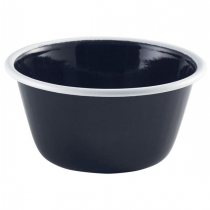 Enamel Deep Pie Dish Black with White Rim 12cm