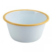 Enamel Round Deep Pie Dish White with Yellow Rim 12cm