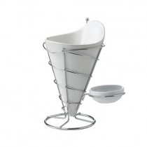 Porcelain & Wire Cone with Condiment Dish