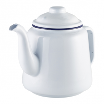 Enamel Teapot White with Blue Rim 1Ltr