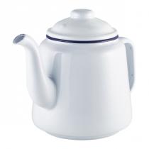 Enamel Teapot White with Blue Rim 1Ltr