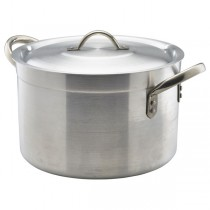 Genware Medium Duty Aluminium Stewpan with Lid 24.5 Litre