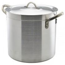 Genware Medium Duty Aluminium Stockpot with Lid 21 Litre