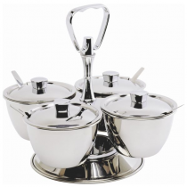 3 Bowl Stainless Steel Revolving Relish Dish