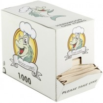 Disposable Wood Chip Forks in Dispenser Box