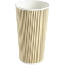Kraft Ripple Disposable Paper Coffee Cup 20oz / 568ml