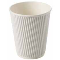 White Ripple Disposable Paper Coffee Cups 12oz / 340ml