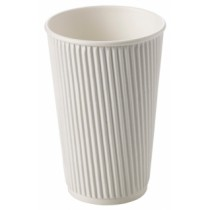 White Ripple Disposable Paper Coffee Cups 16oz / 453ml