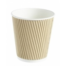 Kraft Ripple Disposable Paper Squat Coffee Cup 12oz / 340ml