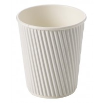 White Ripple Disposable Paper Coffee Cups 8oz / 227ml