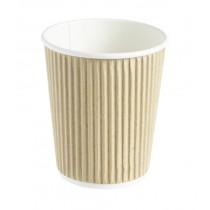 Kraft Ripple Disposable Paper Coffee Cup 8oz / 227ml