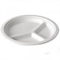 Bagasse Disposable 3-Compartment Round Plate
