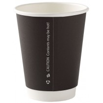 Black Disposable Double Walled Cups 12oz / 340ml