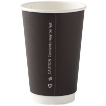Black Disposable Double Wall Cups 16oz / 453ml