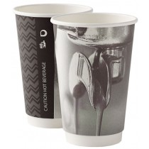 Barista Mixed Design Disposable Double Wall Coffee Cup 16oz / 453ml