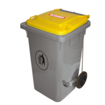 Araven Step On Bin with Wheels 80 Ltr Yellow Lid