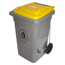 Araven Step On Bin with Wheels 120 Ltr Yellow