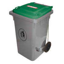Araven Step On Bin with Wheels 120 Ltr Green Lid
