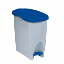 Araven White Step on Pedal Bin with Blue Lid 22 Litre