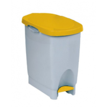 Araven White Step On Pedal Bin with Yellow Lid 22 Litre