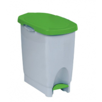 Araven White Step On Pedal Bin with Green Lid 22 Litre