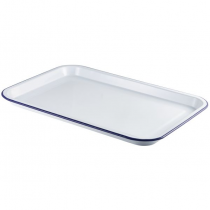 Enamel Serving Tray White with Blue Rim 38.2 x 26.4 x 2.2cm