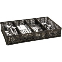 Poly Rattan Cutlery Basket Black 53 x 32.5cm