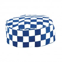 Chefs Skull Cap Blue and White Check