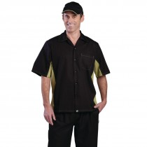 Black & Lime Coolvent Contrast Polycotton Chefs Shirt