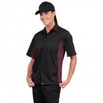 Black & Merlot Coolvent Contrast Polycotton Chefs Shirt