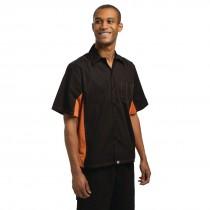 Black & Orange Coolvent Contrast Polycotton Chefs Shirt