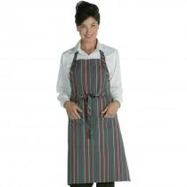 Chef Works Bib Apron Red & Grey Stripe