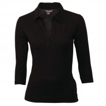 Food Service Uniforms - Ladies Black V Neck 3/4 Sleeve Shirt
