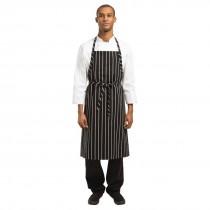 Chef Works Premium Butchers Stripe Bib Apron Black & White