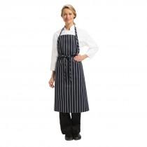 Chef Works Premium Butchers Stripe Bib Apron Navy & White