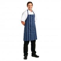 Chef Works Presidio Satin Stripe Bib Apron Navy